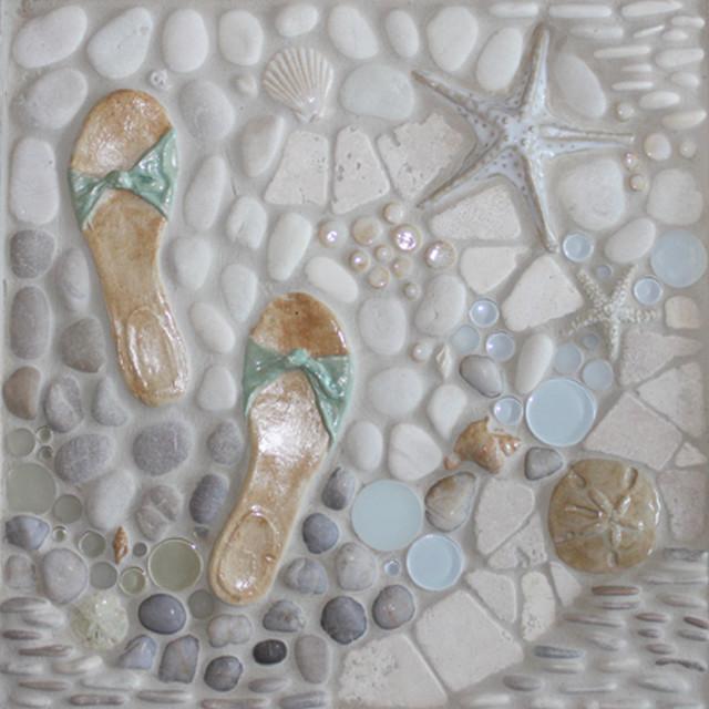 """Mosaic Murals -> """"A Walk On The Beach"""" Shown in 18""""x18"""" tile"""