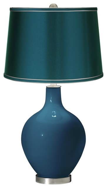 contemporary oceanside satin teal shade ovo table lamp. Black Bedroom Furniture Sets. Home Design Ideas