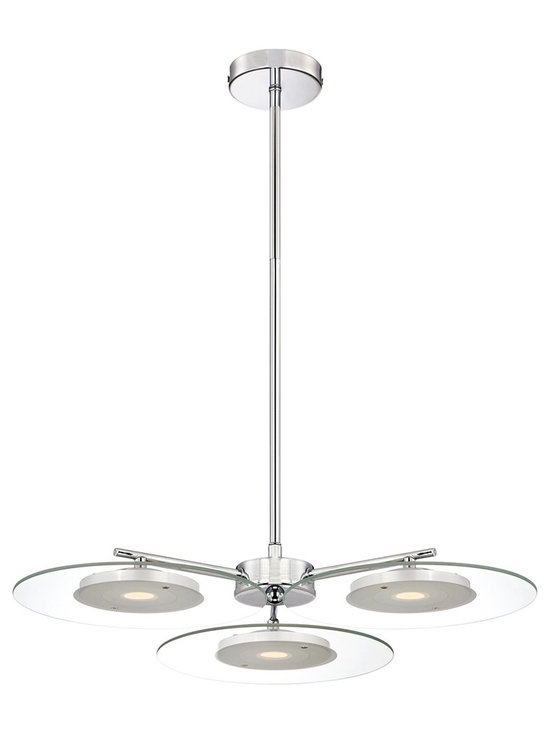 "Possini Euro Design - Possini Euro Design 22"" Clear Glass Disc LED Pendant Light - An exceptionally well-styled LED pendant light that adds a modern touch to your decor. This ceiling fixture features a chrome finish canopy and rod and three clear glass discs with white diffusers for a soft glow. A modern classic from Possini Euro Design. Chrome finish metal. Clear glass. White diffuser. 22"" wide. 9 5/8"" minimum height. 45 5/8"" maximum height. Includes three 10 watt LED. 2700K color temperature. Light output is 1700 lumens. Comparable to a 100 watt incandescent bulb. Includes one 6"" and three 12"" rods. Canopy is 4 3/4"" wide. Hang weight is 6 pounds.  Chrome finish metal.  Clear glass.  White diffuser.  Includes three 10 watt LED.  2700K color temperature.  Light output is 1700 lumens.  Comparable to a 100 watt incandescent bulb.  Not for use with dimmers.  22"" wide.  9 5/8"" minimum height.  45 5/8"" maximum height.  Includes one 6"" and three 12"" rods.  Canopy is 4 3/4"" wide.  Hang weight is 6 pounds."