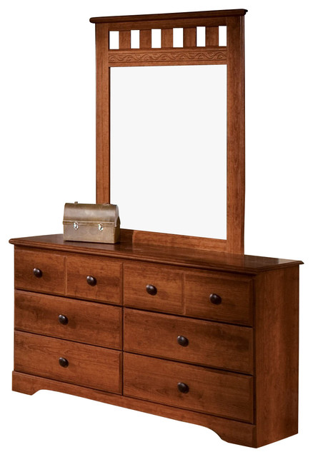 Standard Furniture Orchard Park Dresser With Mirror In Cherry Traditional Dressers By