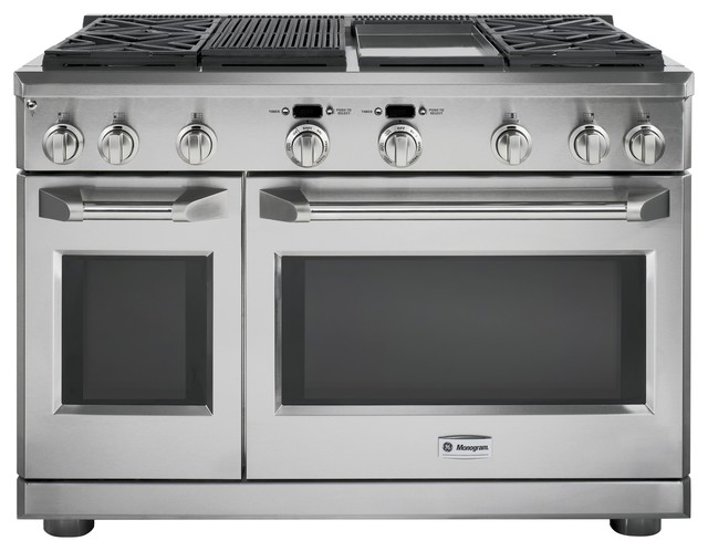 """GE Monogram 48"""" professional range with four gas burners, a grill and a griddle traditional-gas-ranges-and-electric-ranges"""