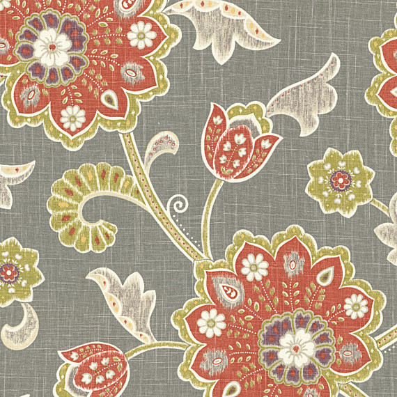 Gray Amp Orange Stylized Floral Fabric Contemporary