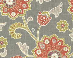 Gray & Orange Stylized Floral Fabric contemporary-upholstery-fabric