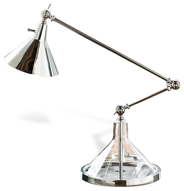 Ronnie Silver Glass Funnel Beaker Adjustable Table Lamp transitional-table-lamps