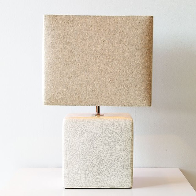 Ceramic cube table lamp modern table lamps by west elm