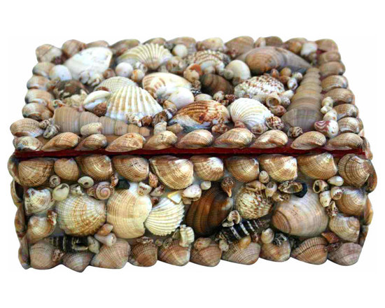 Shell Box - Pretty little shell covered trinket or jewelry box.  Great old color with all of the shells still intact. lined with a shabby red velvet.