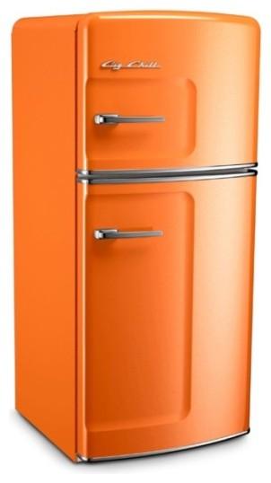 Big Chill Studio 14.4 cu. ft. Top-Freezer Fridge - Orange - Modern - Refrigerators - by Big Chill