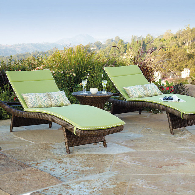 Set of Two Solid Balencia Chaise Cushions with Cording traditional-outdoor-cushions-and-pillows