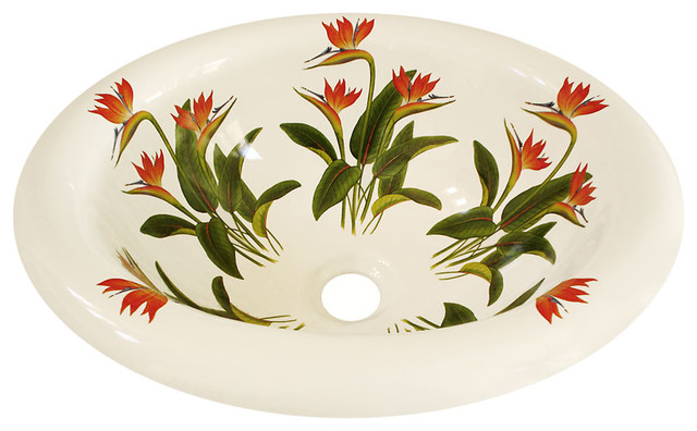 Bird of Paradise Hand Painted Sink, White tropical-bathroom-sinks