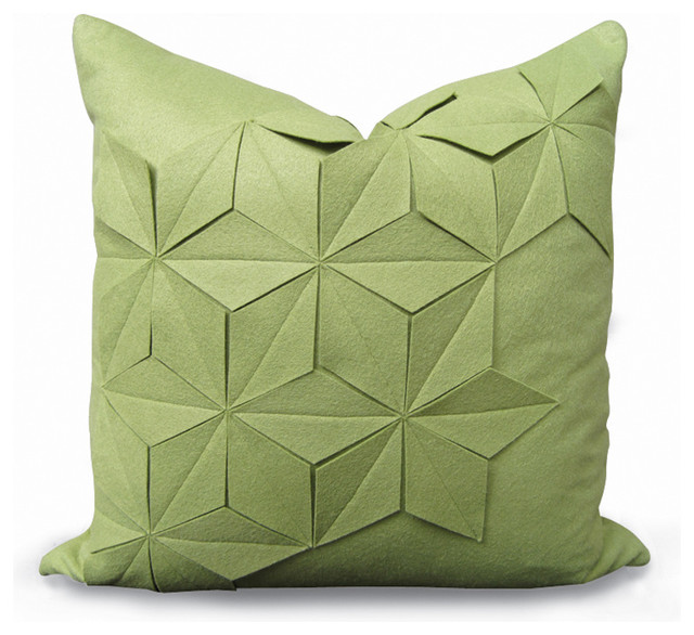 Geometric Green Apple Felt Pillow - Contemporary - Decorative Pillows - by White Nest