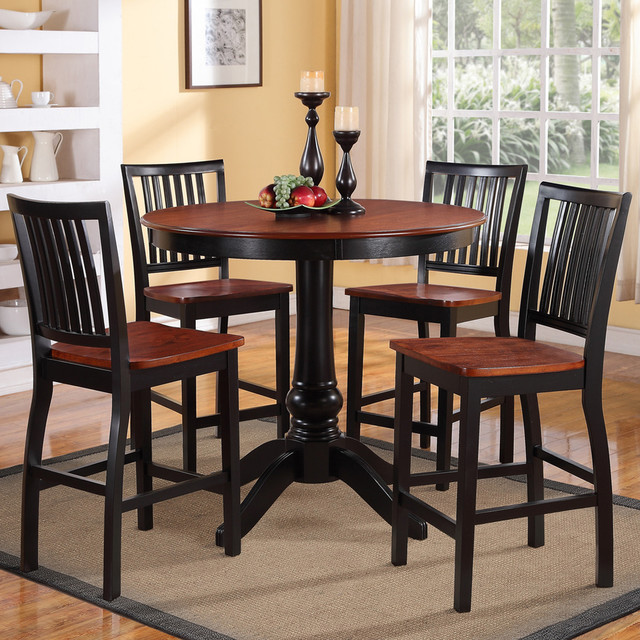 TRIBECCA HOME Kendall Two Tone Cherry Black 5 Piece Casual