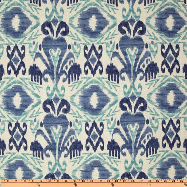 Richloom solarium outdoor sumter ikat sky fabric for Kids outdoor fabric