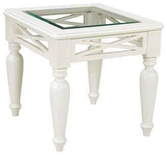 Standard Furniture Cambria Rectangular White Wood and Glass Top End Table modern-indoor-pub-and-bistro-tables