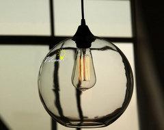Modern Simple Orb Clear Glass Pendant Lighting contemporary-pendant-lighting