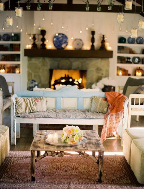 Little blue deer cozy chic eclectic living room for Eclectic chic living room