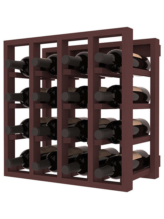 Lattice Stacking Wine Cubicle in Pine with Walnut Stain - Designed to stack one on top of the other for space-saving wine storage our stacking cubes are ideal for an expanding collection. Use as a stand alone rack in your kitchen or living space or pair with the 20 Bottle X-Cube Wine Rack and/or the Stemware Rack Cube for flexible storage.