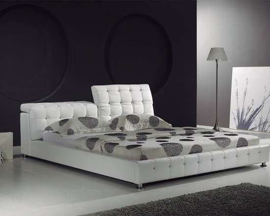 Queen Elizabeth Bed Frame - Ultimate luxury combines with exquisite detail work in the Queen Elizabeth Modern Leather Bed Frame. Featuring genuine hand-tufted leather with crystal accents in the tufts, and individually adjustable headboard.