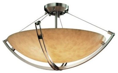 Justice Design Group Clouds CLD-9712-35-NCKL 24 in. Semi-Flush Bowl with Crossba modern-ceiling-lighting