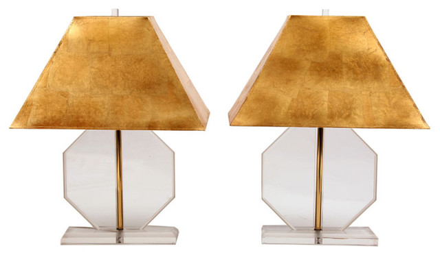 Lucite & Brass Lamps with Custom Gold Leaf Shades modern-lamp-shades