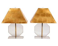 Lucite & Brass Lamps with Custom Gold Leaf Shades modern lamp shades