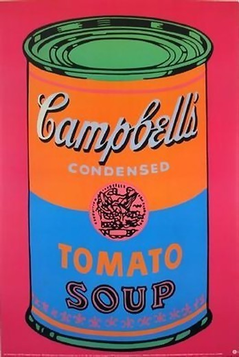 a review of andy warhols famous work the campbells soup can Vintage: the famous campbell's soup print by us artist andy warhol  in 1993,  the company bought a warhol painting of one of its tomato soup cans to   priceless: andy warhol's campbell's soup with can opener shows the  in  billowing shirt dress after winning rave reviews for the children act.