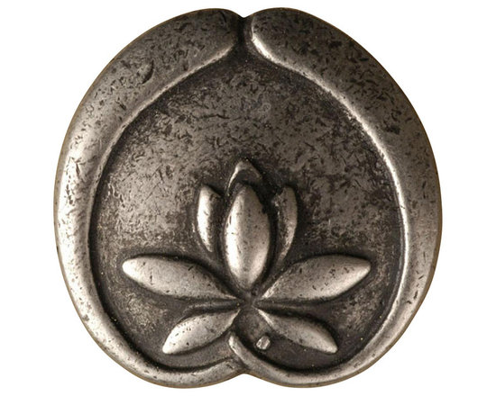 """Anne At Home - 1 1/4"""" Asian Lotus Flower Knob (Set of 10) (Bronze) - Finish: Bronze. Hand cast and finished. Made in the USA. Pewter with brass insert. Collection: Asian. 1.25 in. L x 1.25 in. W x 0.75 in. H"""