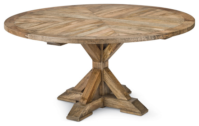Style Mango Wood Parquet Round Dining Table Transitional Dining Tables