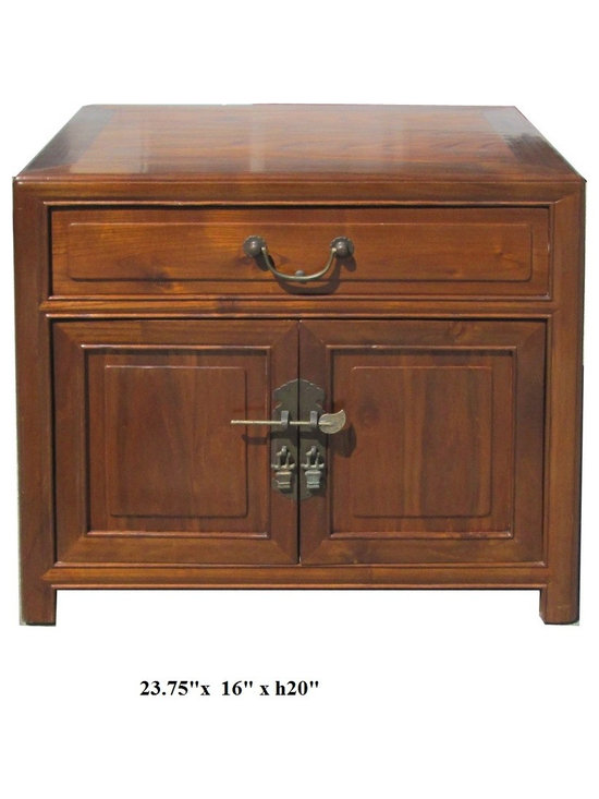 Chinese Oriental Light Brown Nightstand End Table - This is an end table / nightstand with simple straight forward shape and clean light brown stain. A drawer and the doors are decorated with matte vintage finish hardware.