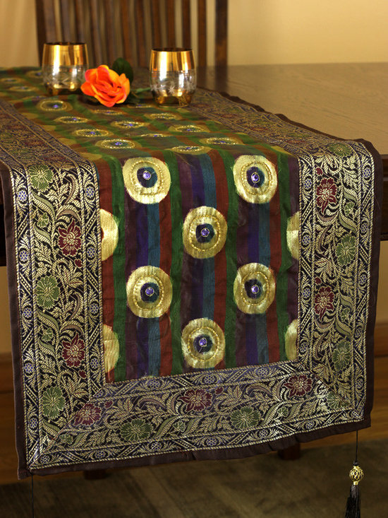 """Elegant Table Runners - """"Luxurious Satin Table Runner"""" from Banarsi Designs. Coffee Brown color. Stunning vibrant delicate silk with adorable hand embroidered shapes and a bright and delightful Signature Banarsi border. Gold"""