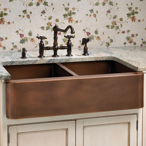 ... Smooth Double Well Farmhouse Copper Sink traditional-kitchen-sinks