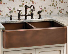 Aberdeen Smooth Double Well Farmhouse Copper Sink traditional kitchen sinks