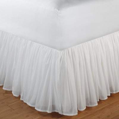 Greenland Home Fashions Cotton Voile Bed Skirt - 18 in. Ruffle - White modern-bedskirts