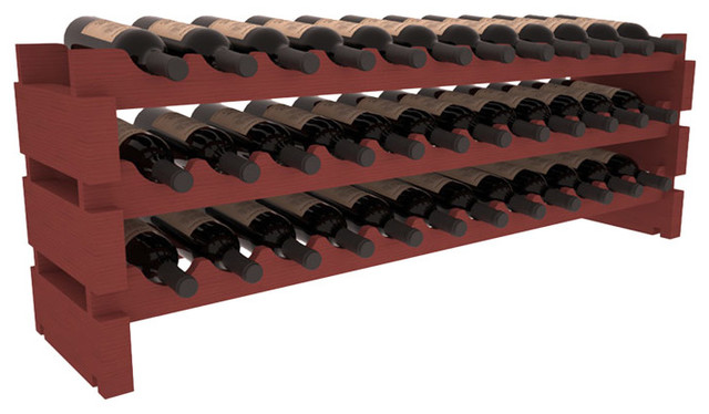 36 Bottle Scalloped Wine Rack in Pine with Cherry Stain contemporary-wine-racks
