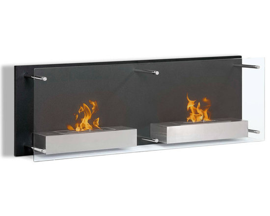 Moda Flame - Faro Wall Mounted Ethanol Fireplace - A bold decorative contemporary black steel backdrop with a floating protective glass front are the features that make Faro stylish and sleek. When mounted, the Faro is a sure conversation piece of art. The Faro holds two burners mounted on separate steel shelves.