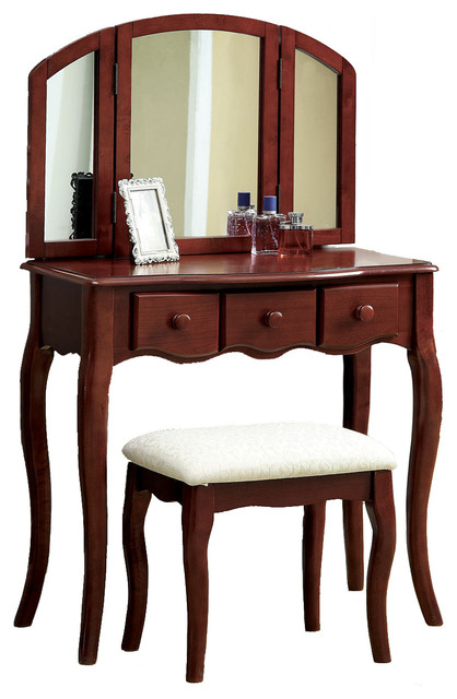 Tri Folding Mirror 3pc Wood Make Up Table Padded Bench Drawers Vanity Set Cherr Transitional