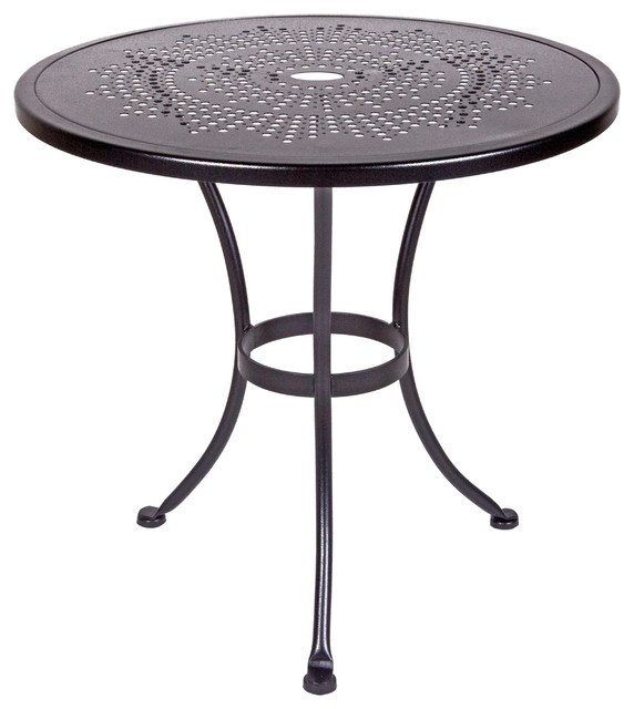 Bistro 30Rd Stamped Metal Dining Table With 2 Umbrella