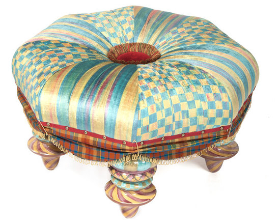 Highland Setting Seat | MacKenzie-Childs - The classic octagonal shape of our Highland Setting Seat is accented by alternating aqua and moss stripe and check panels. The large center button is covered in rich red velveteen, and bordered by a multicolored brush fringe and decorative nailhead trim. Exclusive MacKenzie tartan skirting is edged in brass chain fringe and accented with kilt pins. Handmade majolica ceramic feet, handmade by our artisans, are hand-painted in stripes, swirls, and argyle plaid.