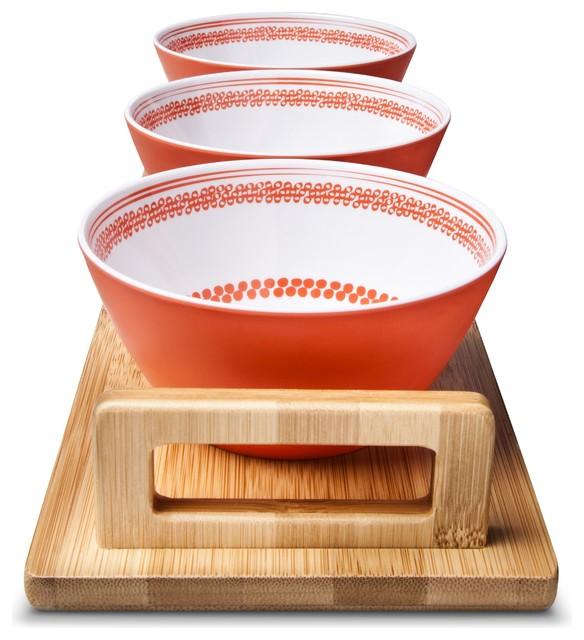 Melamine 3 Piece Dip Bowl And Platter Mandarin