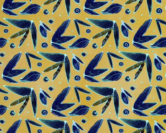 Midnight Butterfly Leaf Honey Gold Designer Fabric - Abstract butterfly and leaf on tone on tone to mix & match. Perfect for tabletop, bedding, curtains, children's and more.