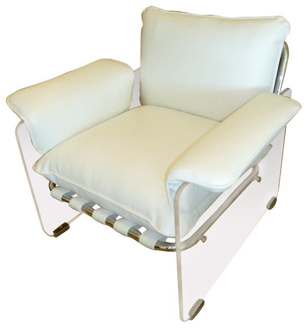 pace argenta lucite and chrome lounge chair traditional