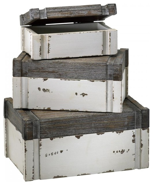 "Distressed White and Gray 5"" Alder Boxes - Rustic - Storage Bins And Boxes - by We Got Lites"