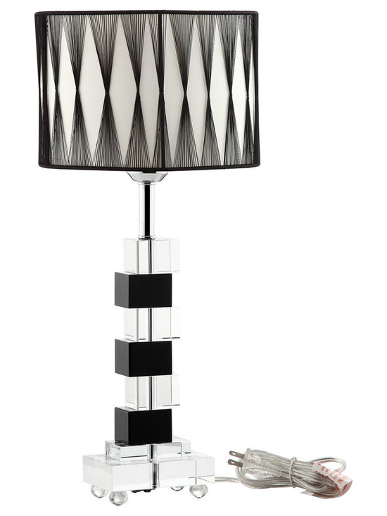 LexMod - Percussion Black and White Crystal Modern Table Lamp - Drum to a different beat with this sidestepping table lamp. Raise the volume and up the tempo as you place Percussion in those spots that need it most. From the boardroom in need of a little more pep, to the homestead built on vibe and zest, this is a piece that doesn't just stand still. Topped with an oval-shaped black cloth shade over a black and clear crystal base, Percussion is a lamp ready for action.