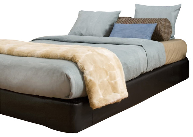 black faux leather boxspring cover contemporary