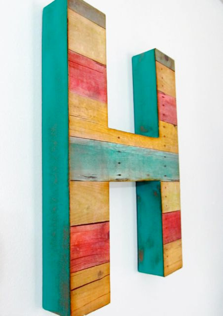 reclaimed wood large wall letter by debbie saenz eclectic