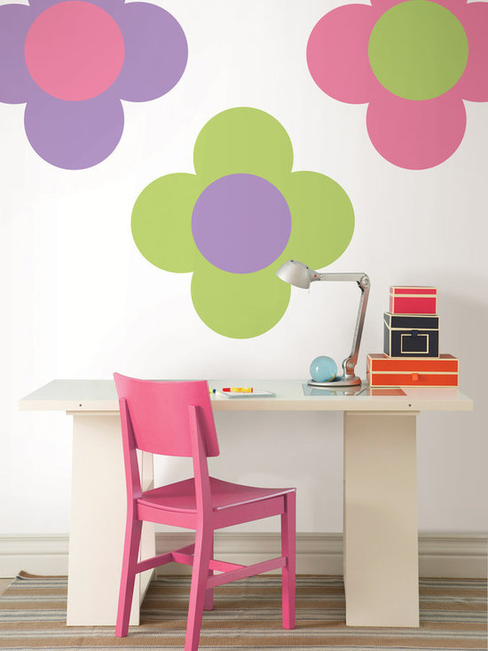 "Flirt Pink-Purple Perk and Oh Pear Green Dots Set of Wall Decals - Create a fun and colorful kids room with this WallPops pack. This pack contains five 13"" Flirt Pink Dots, five 13"" Purple Perk Dots, and five 13"" Oh Pear Green Dots. WallPops are repositionable and always removable."