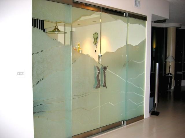Glass panels glass doors sandblasted glass contemporary