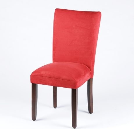 Red Parsons Chair Traditional Dining Chairs by