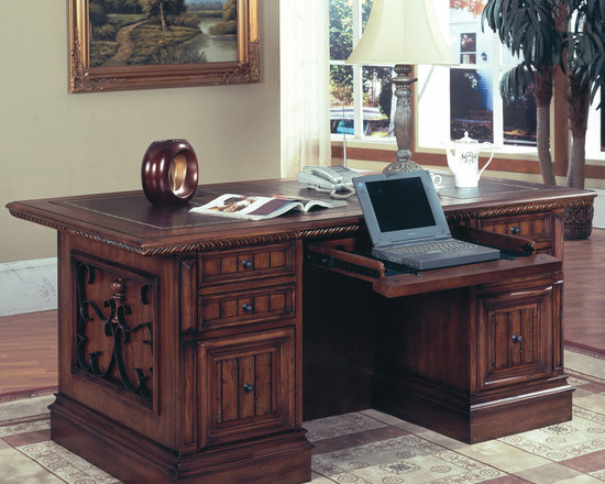 Barcelona Double Pedestal Executive Desk in Antique Walnut finish - Photo by Parker House, desk @ http://www.dynamichomedecor.com/Parker-House-BAR-480-3.html