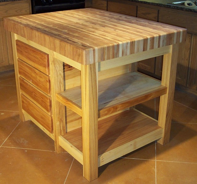 Butcher Block Center Island Traditional Kitchen Islands And Kitchen