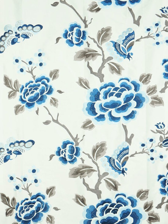 Blue Floral Custom Made Embroidered Dupioni Silk Curtains - Hollyhock motifs add a lively look to these embroidered window curtains. An easy way to add a bit of the springtime to any living room. 100% silk.